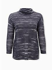 Plus Size Dark Slate Grey Space-Dye Turtleneck Pullover, GREY, hi-res