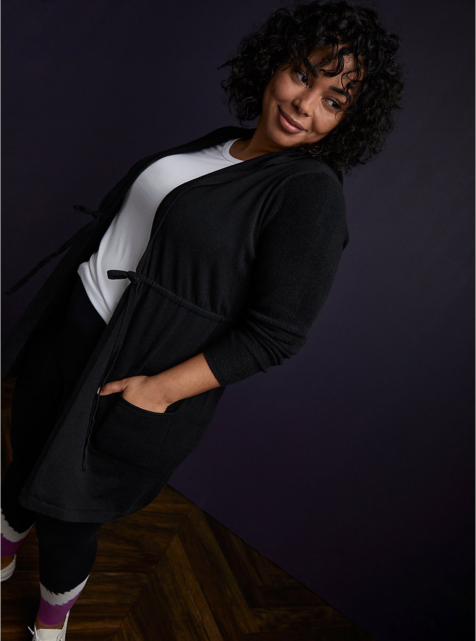 Plus Size Super Soft Black Hooded Anorak Cardigan, DEEP BLACK, hi-res