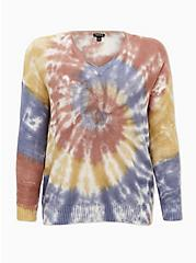 Rainbow Tie-Dye Cotton Pullover Sweater, MULTI, hi-res