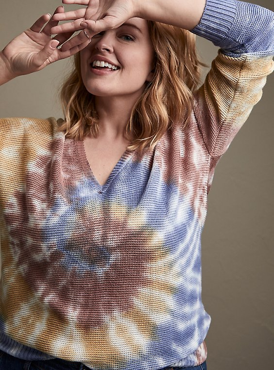 Rainbow Tie-Dye Cotton Pullover Sweater, , hi-res