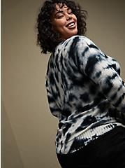 Black Tie-Dye Cotton Pullover Sweater, MULTI, alternate