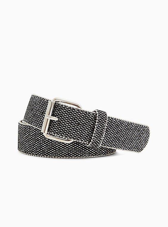 Black & Gold Shimmer Faux Leather Buckle Belt, , hi-res