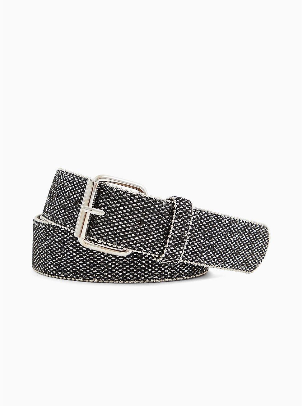 Black & Gold Shimmer Faux Leather Buckle Belt, BLACK, hi-res