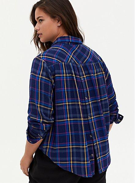 Navy Plaid Crinkle Gauze Button Back Shirt, PLAID - BLUE, alternate