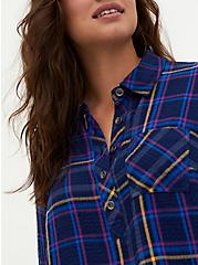 Navy Plaid Crinkle Gauze Button Back Shirt, PLAID - BLUE, hi-res