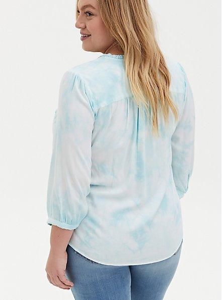 Aqua Tie-Dye Twill Peasant Blouse , VINTAGE INDIGO, alternate