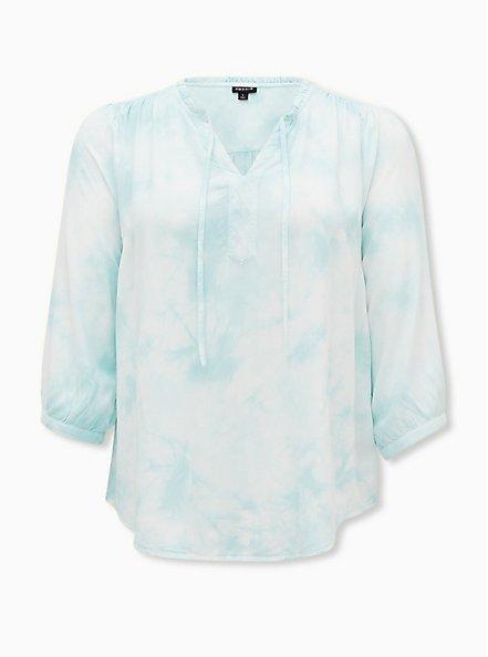 Aqua Tie-Dye Twill Peasant Blouse , VINTAGE INDIGO, hi-res