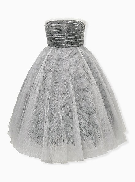 Betsey Johnson Shiny Silver Tulle Strapless Dress, SILVER, hi-res