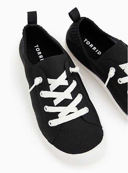Black Stretch Knit Ruched Sneaker (WW), BLACK, hi-res