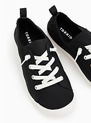 Riley - Black Stretch Knit Ruched Sneaker (WW), BLACK, hi-res