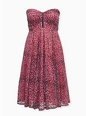 Betsey Johnson Black & Pink Lace Mesh Tulle Skater Dress, LEOPARD - PINK, hi-res