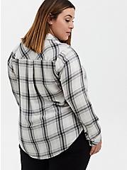 White Plaid Twill Shirt, PLAID - WHITE, alternate