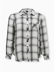 White Plaid Twill Shirt, PLAID - WHITE, hi-res