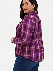 Burgundy Purple Plaid Twill Button Front Shirt , PLAID - PURPLE, alternate