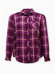 Burgundy Purple Plaid Twill Button Front Shirt , PLAID - PURPLE, hi-res