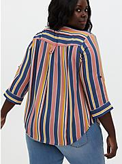 Harper - Multi Stripe Georgette Pullover Blouse, STRIPE - TEAL, alternate