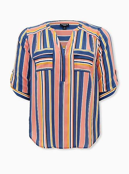 Harper - Multi Stripe Georgette Pullover Blouse, STRIPE - TEAL, hi-res
