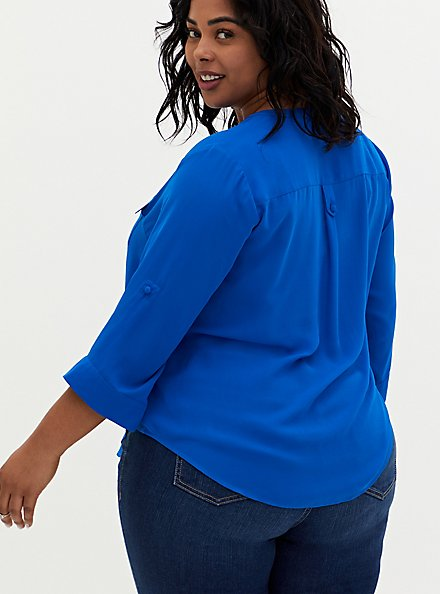 Harper - Royal Blue Georgette Pullover Blouse, BLUE, alternate