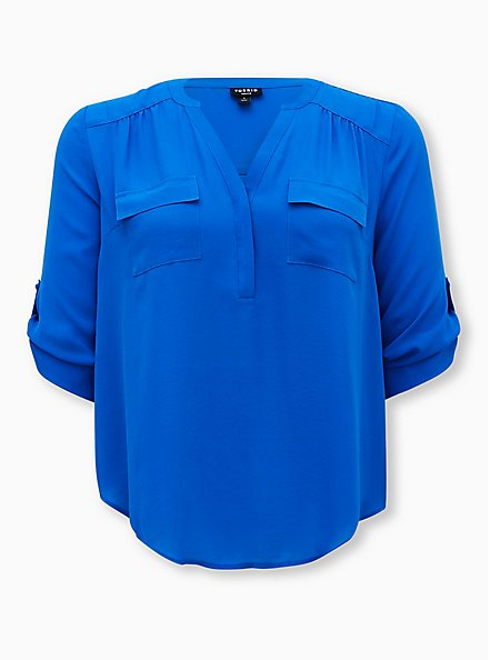 Harper - Royal Blue Georgette Pullover Blouse, BLUE, hi-res