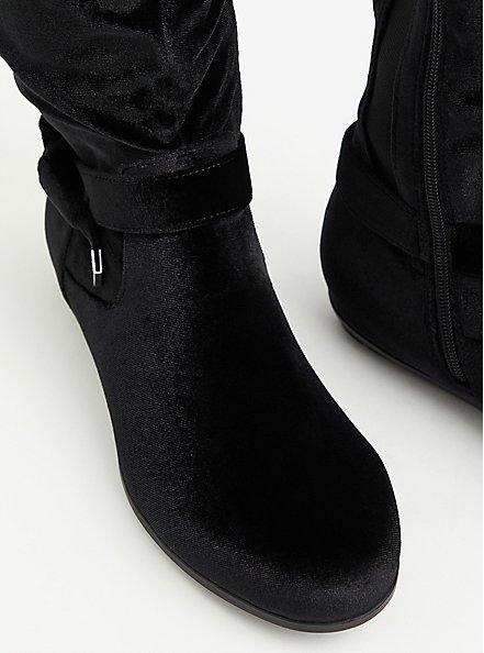 Black Velvet Side Knot Over-The-Knee Boot (WW), BLACK, alternate