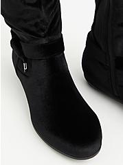 Black Velvet Side Knot Over-The-Knee Boot (WW), BLACK, alternate