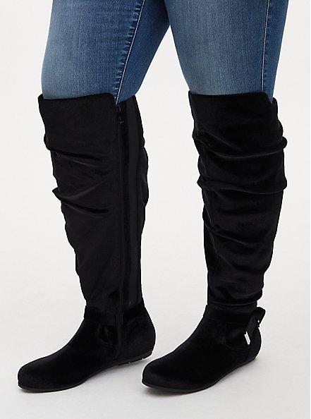 Black Velvet Side Knot Over-The-Knee Boot (WW), BLACK, hi-res