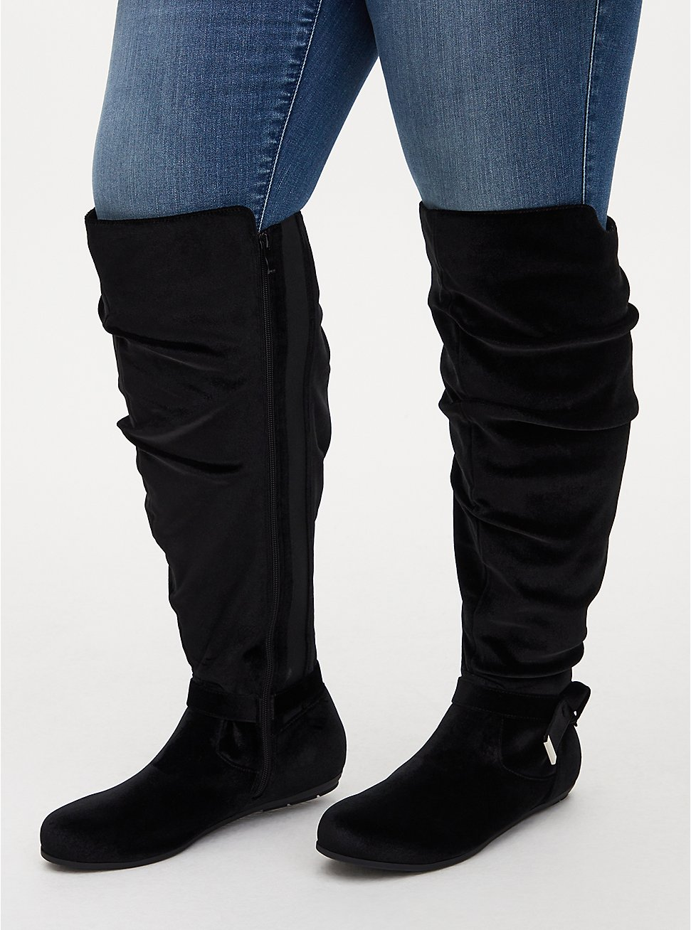 Black Velvet Side Knot Over-The-Knee Boot (WW), BLACK, hi-res