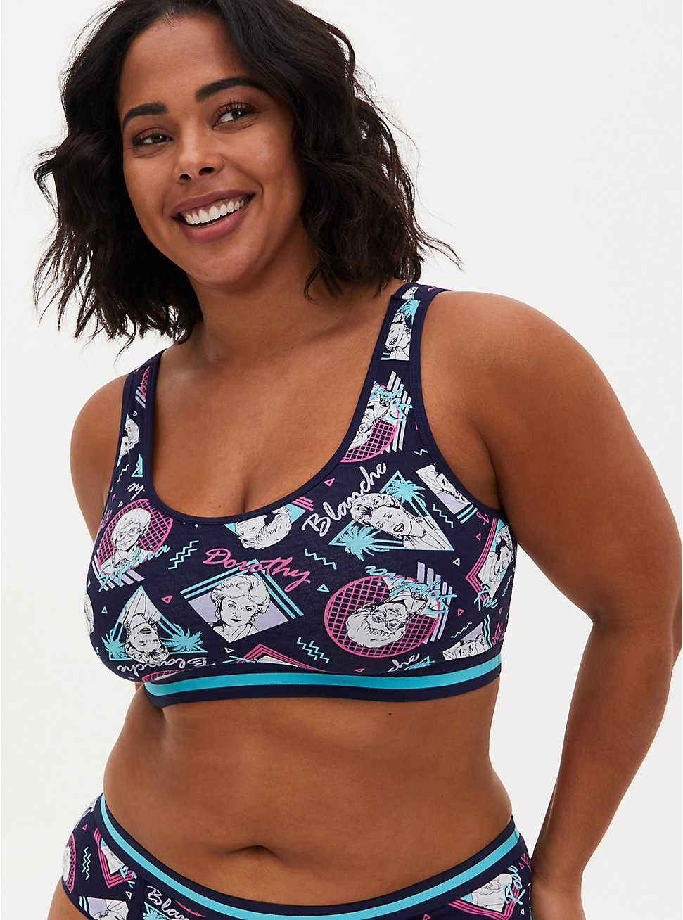 Golden Girls Navy Cotton Scoop Neck Bralette , MULTI, hi-res