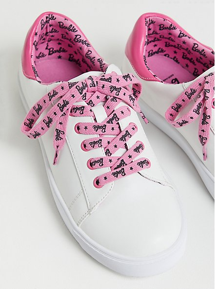 Barbie Logo White & Pink Faux Leather Lace-Up Sneaker (WW), PINK, alternate