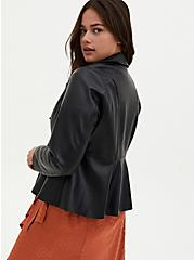 Black Faux Leather Peplum Moto Jacket, DEEP BLACK, hi-res
