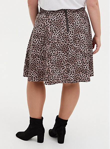 Leopard Twill Pleated Mini Skater Skirt , LEOPARD - BROWN, alternate