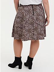 Leopard Twill Pleated Mini Skater Skirt , LEOPARD - BROWN, alternate