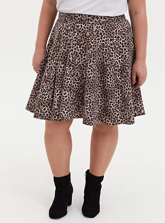 Leopard Twill Pleated Mini Skater Skirt , LEOPARD - BROWN, hi-res