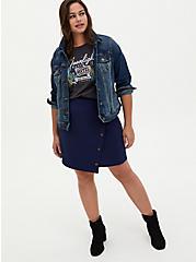 Navy Scuba Knit Button Wrap Mini Skirt, PEACOAT, alternate