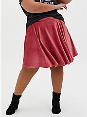 Plus Size Dusty Red Textured Mini Circle Skirt , ANTIQUE RED, hi-res