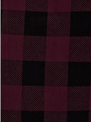 Burgundy Purple & Black Plaid Ponte Mini Skirt, PLAID - PURPLE, alternate