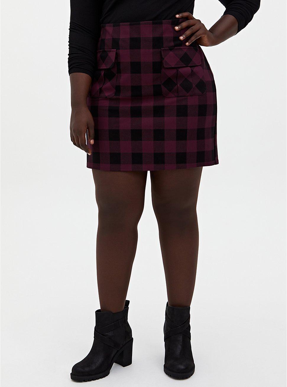 Burgundy Purple & Black Plaid Ponte Mini Skirt, PLAID - PURPLE, hi-res