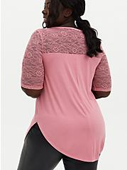 Favorite Tunic Tee - Super Soft & Lace Pink, MAUVEGLOW, alternate