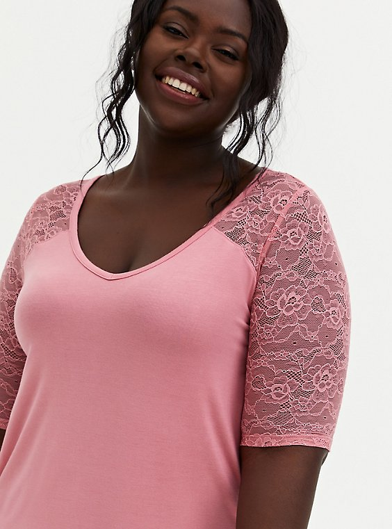 Favorite Tunic Tee - Super Soft & Lace Pink, MAUVEGLOW, hi-res
