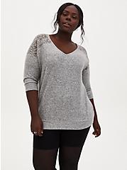 Plus Size Super Soft Plush Grey Lace Dolman Tee, HEATHER GREY, alternate