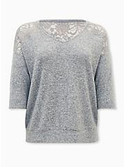 Plus Size Super Soft Plush Grey Lace Dolman Tee, HEATHER GREY, hi-res