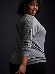 Heather Grey Fleece Lace Sleeve Sweatshirt, HEATHER GREY, alternate