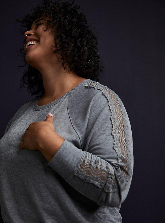 Heather Grey Fleece Lace Sleeve Sweatshirt, , hi-res