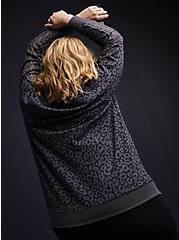 Plus Size Black Leopard Fleece Lace Sleeve Sweatshirt, LEOPARD, alternate