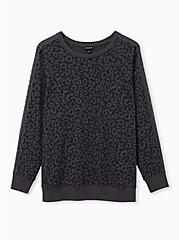 Plus Size Black Leopard Fleece Lace Sleeve Sweatshirt, LEOPARD, hi-res
