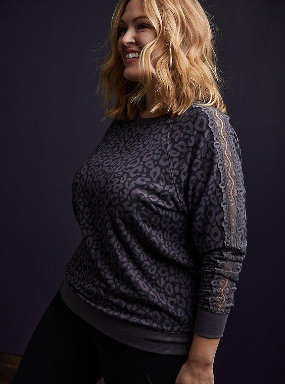 Plus Size Black Leopard Fleece Lace Sleeve Sweatshirt, , hi-res