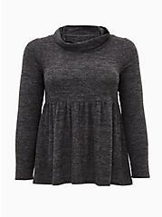 Super Soft Plush Black Cowl Neck Babydoll Top, DEEP BLACK, hi-res