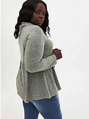 Plus Size Super Soft Plush Sage Green Cowl Neck Babydoll, SEAGRASS, alternate