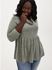 Plus Size Super Soft Plush Sage Green Cowl Neck Babydoll, SEAGRASS, hi-res