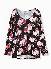 Super Soft Black Leopard & Floral Long Sleeve Top, DEEP BLACK, hi-res